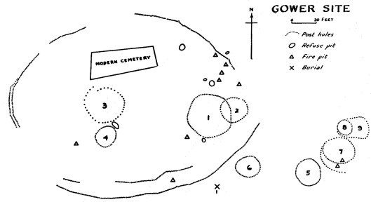Map of the Gower site, drawn by Edgar Augustine in 1941.